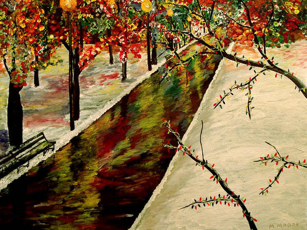 Snow Poster featuring the painting Winter In The Park by Mark Moore