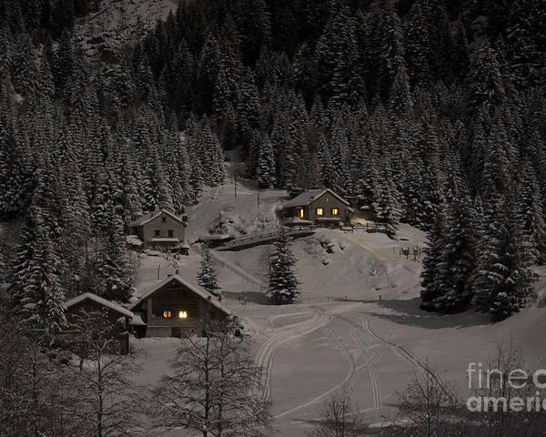 Houses Poster featuring the photograph Winter Landscape by Mats Silvan