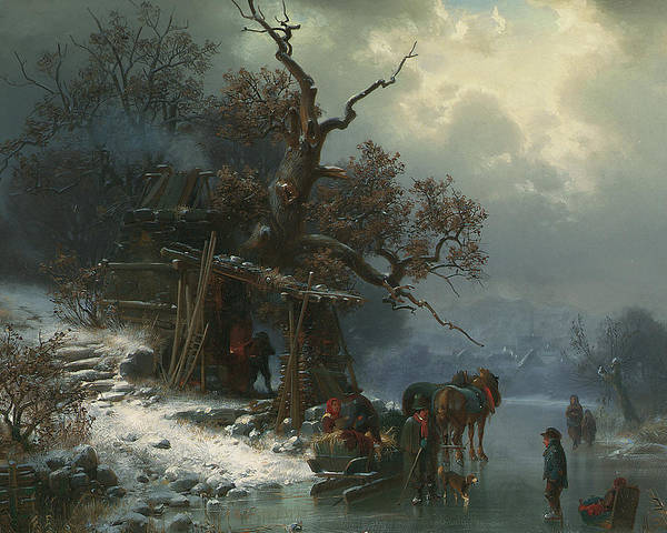 Winter Landscape With Figures On A Frozen River Poster featuring the painting Winter Landscape With Figures On A Frozen River by Heinrich Hofer