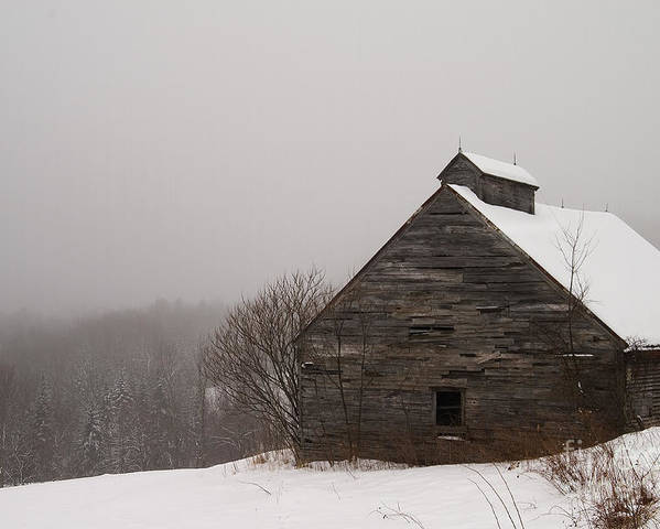 Winter Poster featuring the photograph Winter Maine Barn by Alana Ranney