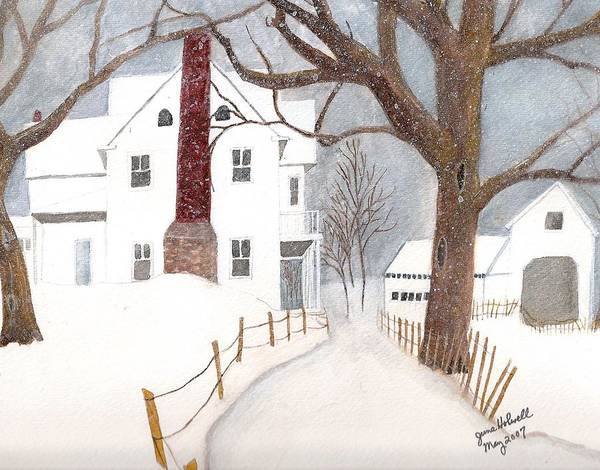 Landscape Poster featuring the painting Winter Morning At The Big White House by June Holwell