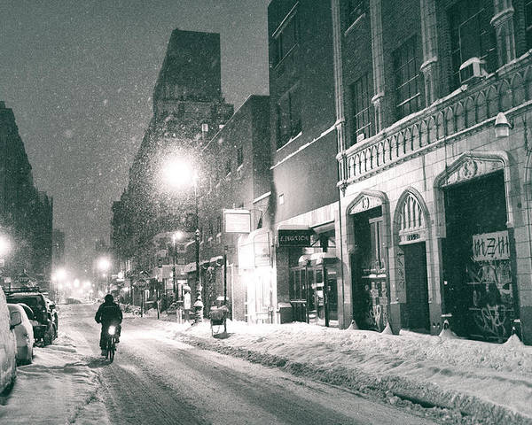 Nyc Poster featuring the photograph Winter Night - New York City - Lower East Side by Vivienne Gucwa