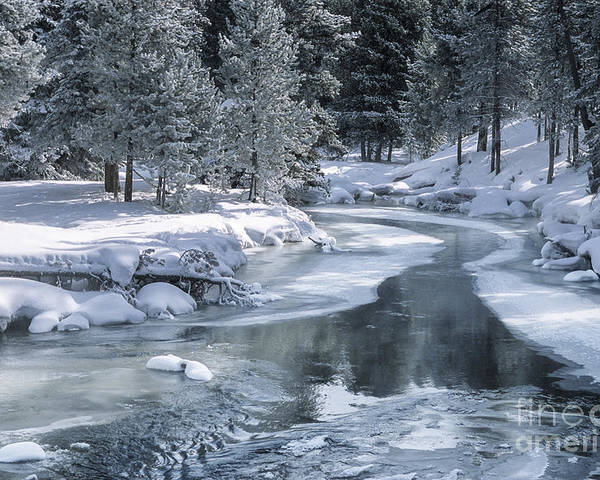 Yellowstone Poster featuring the photograph Winter On The Firehole River - Yellowstone National Park by Sandra Bronstein