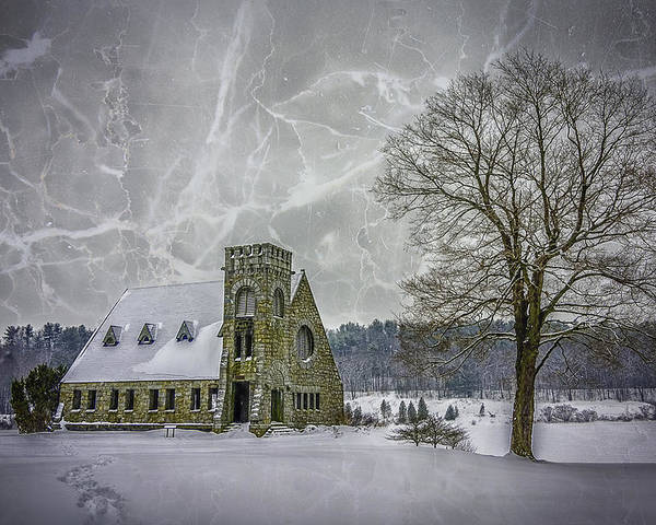 Winter Poster featuring the photograph Winter on the Old Stone Church by Bob Bernier