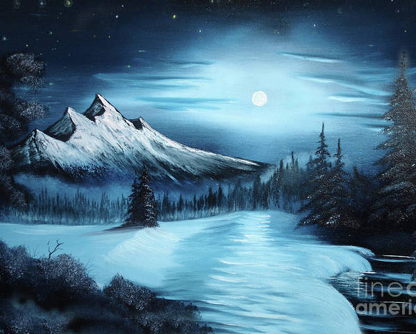 Painting Poster featuring the painting Winter Painting A La Bob Ross by Bruno Santoro