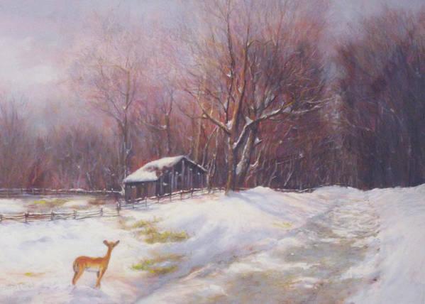 Deer Poster featuring the pastel Winter Palette by Howard Scherer