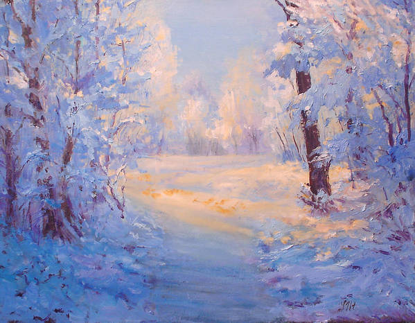 Landscape Poster featuring the painting Winter Path. by Julia Utiasheva