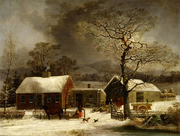 Painting Poster featuring the painting Winter Scene In New Haven Connecticut 1858 By Durrie by Movie Poster Prints