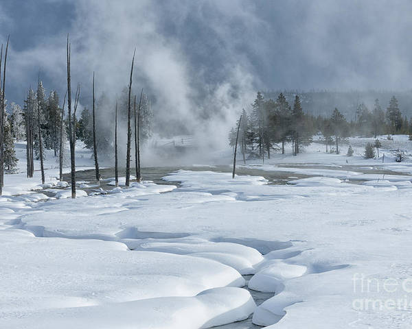 Landscape;yellowstone;wyoming;winter;national;park;snow;ice;creek;steam;fog;smoke;sandra;bronstein;sandra Bronstein;fine Art;photography;western United States;wilderness;out West;horizontal Poster featuring the photograph Winter Solitude by Sandra Bronstein
