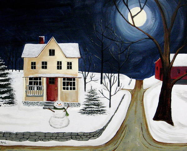 Snowman Poster featuring the painting Winter Solo by Kori Vincent
