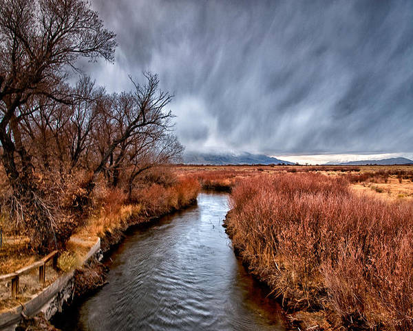 River Poster featuring the photograph Winter Storm Over Owens River by Cat Connor