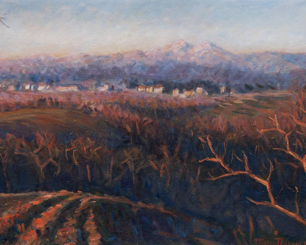 Sunset Poster featuring the painting Winter Sunset In Brianza by Marco Busoni