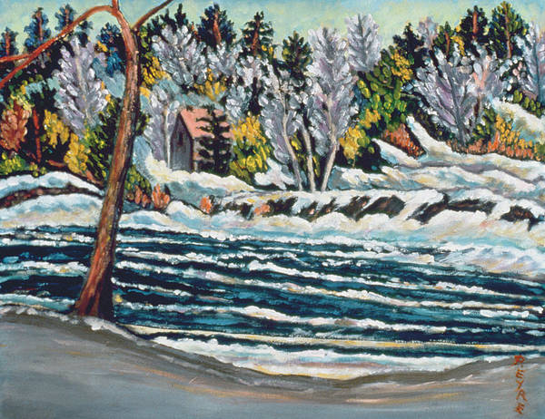 Melting Poster featuring the painting Winter Thaw Gatineau River by Patricia Eyre