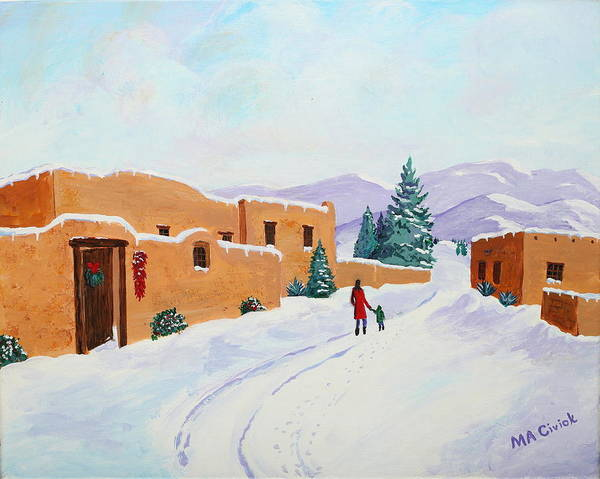 Snow Scene Poster featuring the painting Winter Walk by Mary Anne Civiok