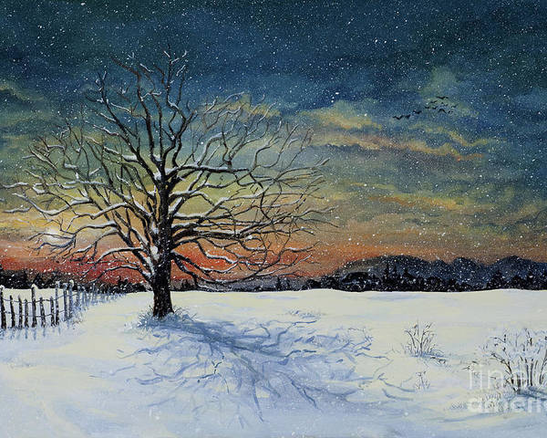 Oak Tree Poster featuring the painting Winters Eve by Mary Palmer