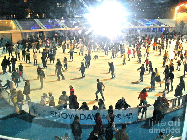 Ice Skating Poster featuring the photograph Wintertime In Bryant Park by Beth Saffer