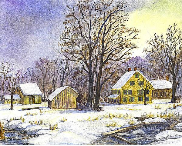 Christmas Cards Poster featuring the painting Wintertime In The Country by Carol Wisniewski