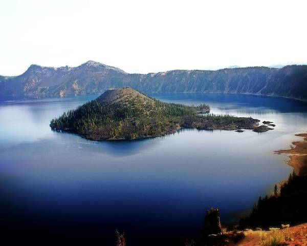 Crater Lake Poster featuring the photograph Wizard Island 1 by Marty Koch