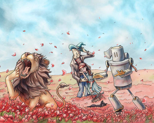 The Wonderful Wizard Of Oz Poster featuring the painting Wizard Of Oz - Poppy Field by Jeremy Gorman