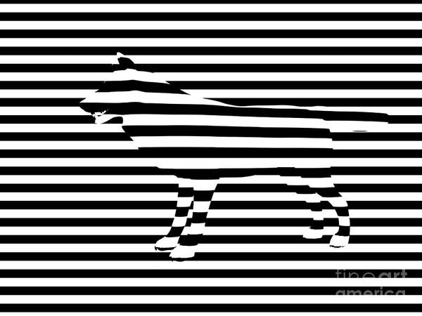 Abstract Poster featuring the painting Wolf Optical Illusion by Pixel Chimp