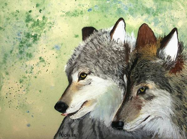 Animals Poster featuring the pastel Wolves by Michele Turney