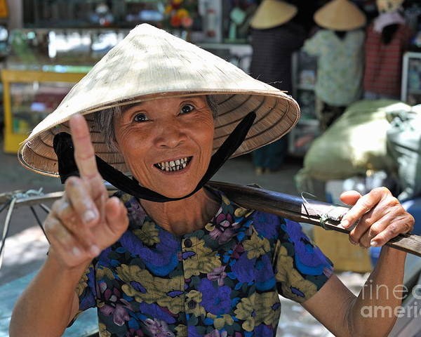 Woman Poster featuring the photograph Woman Portrait At Market In Hue by Sami Sarkis