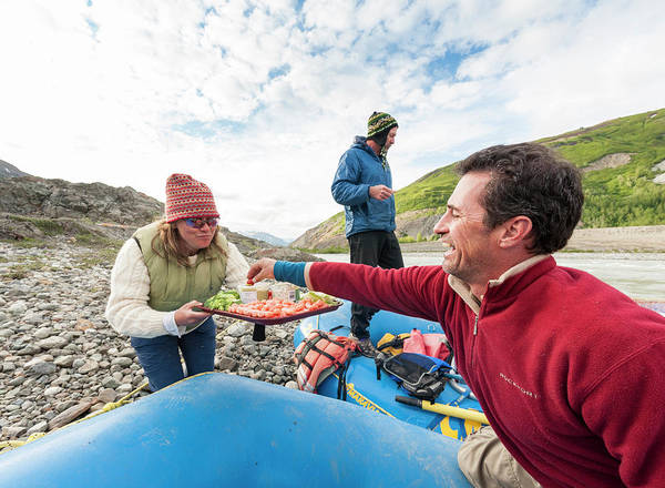 Healthy Eating Poster featuring the photograph Woman Serving Appetizers, Alsek River by Josh Miller