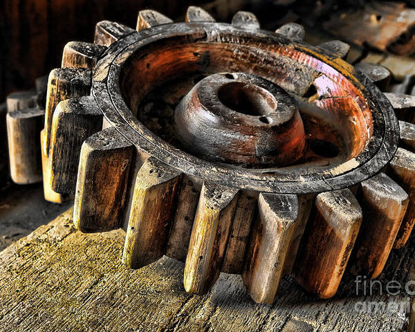 Cog Poster featuring the photograph Wood Gears by Olivier Le Queinec