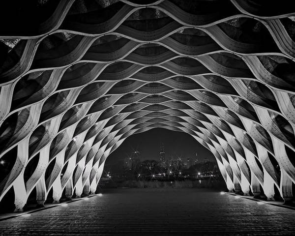 Wooden Arch Poster featuring the photograph Wooden Archway With Chicago Skyline In Black And White by Sven Brogren