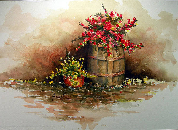 Barrel Poster featuring the painting Wooden Barrel with Flowers by Sam Sidders