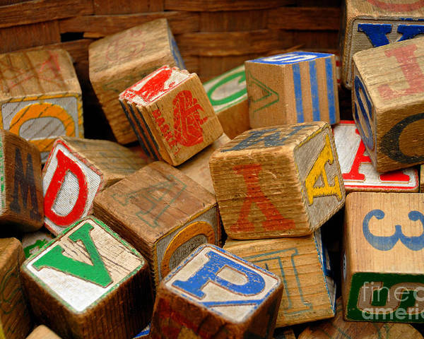 Blocks Poster featuring the photograph Wooden Blocks With Alphabet Letters by Amy Cicconi