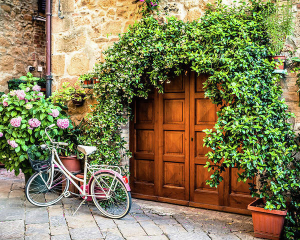 Val D'orcia Poster featuring the photograph Wooden Gate With Plants In An Ancient by Giorgiomagini