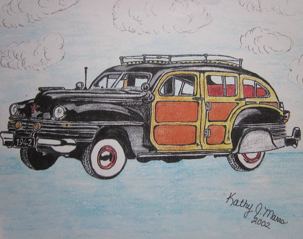 Woodie Poster featuring the painting Woodie Station Wagon by Kathy Marrs Chandler