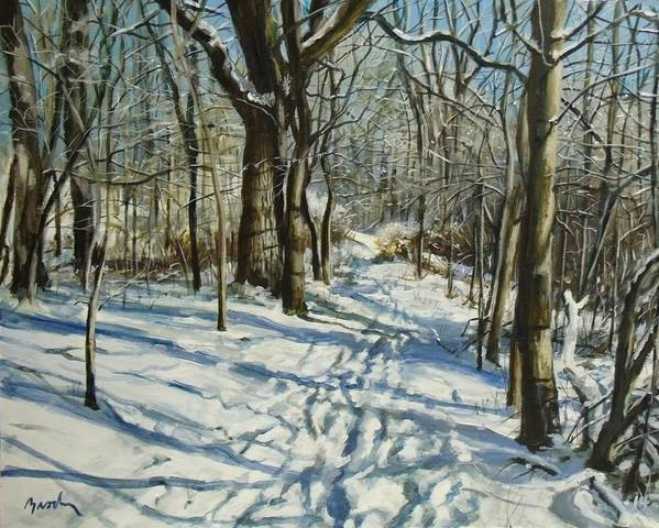 Winter Poster featuring the painting Woodland Journey by William Brody