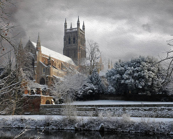 Cathedral Poster featuring the photograph Worcester Cathedral Cloudy by Roy Pedersen