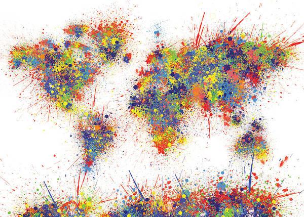 World Map Brush Paint Splatter Poster
