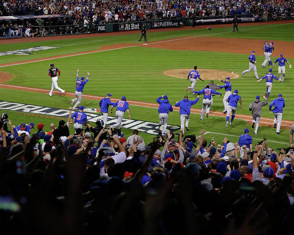American League Baseball Poster featuring the photograph World Series - Chicago Cubs V Cleveland by Jamie Squire