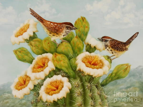 Wren Poster featuring the painting Wrens On Top Of Tucson by Summer Celeste