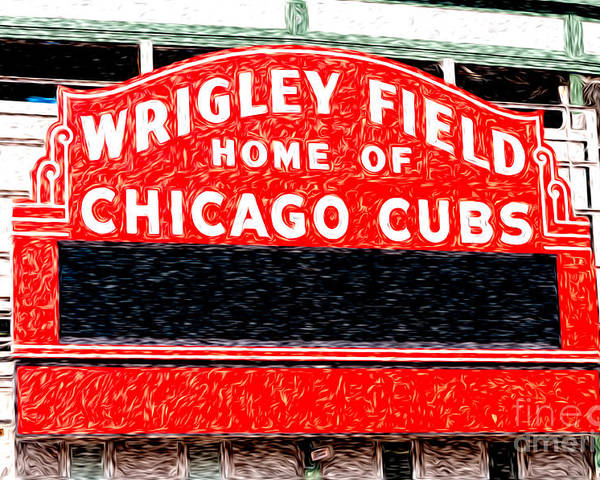 America Poster featuring the photograph Wrigley Field Chicago Cubs Sign Digital Painting by Paul Velgos