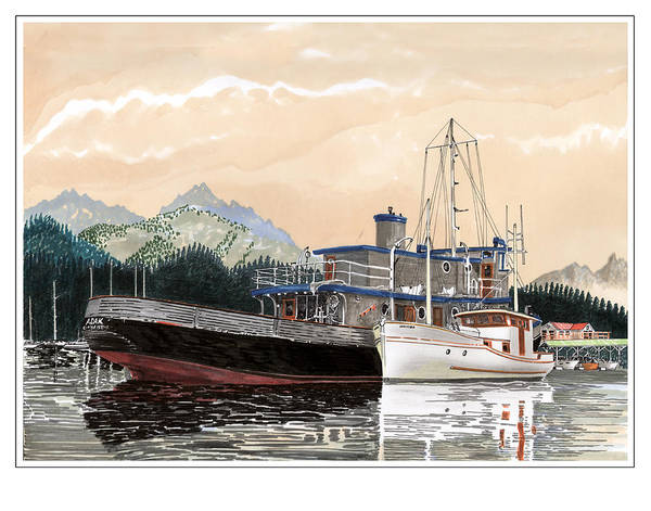 Yacht Portraits Poster featuring the painting Alaskan Sunrise by Jack Pumphrey