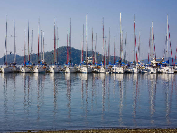 Boat Poster featuring the photograph Yachts Docked In The Harbor Gocek by Christine Giles