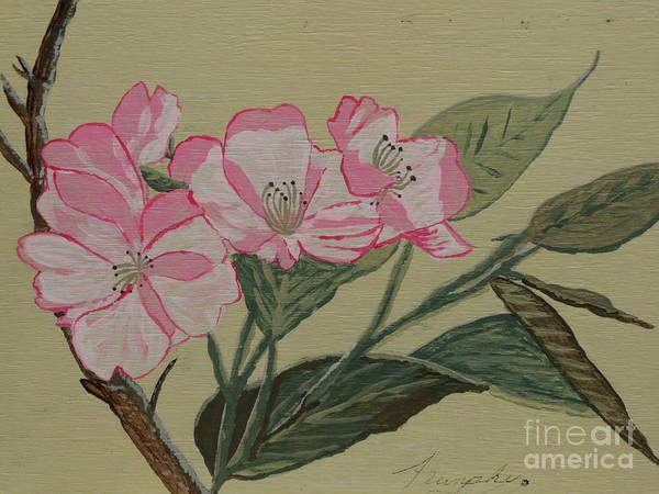 Yamazakura Poster featuring the painting Yamazakura Or Cherry Blossom by Anthony Dunphy