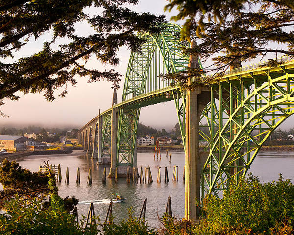 Brookings Poster featuring the photograph Yaquina Bay Bridge Morning Light by Darren White