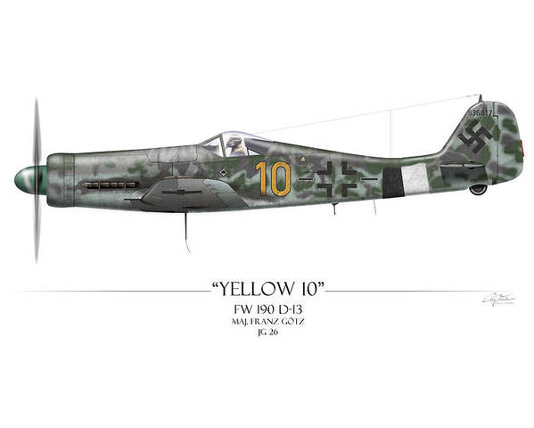 Aviation Poster featuring the painting Yellow 10 Focke-wulf Fw190d - White Background by Craig Tinder