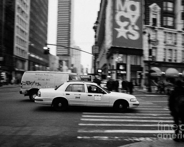 Usa Poster featuring the photograph yellow cab taxi blurs past pedestrian waiting at crosswalk on Broadway outside macys new york usa by Joe Fox