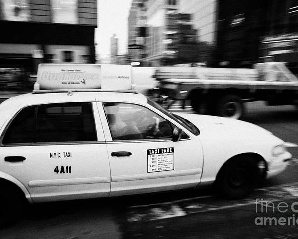 Usa Poster featuring the photograph Yellow Cab With Advertising Hoarding Blurring Past Crosswalk And Pedestrians New York City Usa by Joe Fox