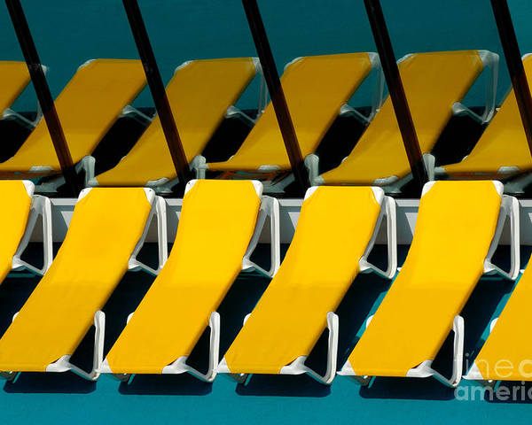 Bright Poster featuring the photograph Yellow Chairs Reflected by Amy Cicconi