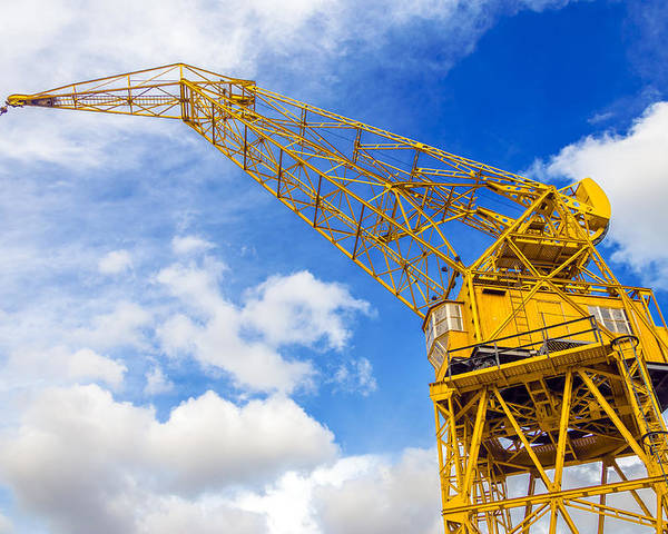Architecture Poster featuring the photograph Yellow Crane And Sky by Jess Kraft