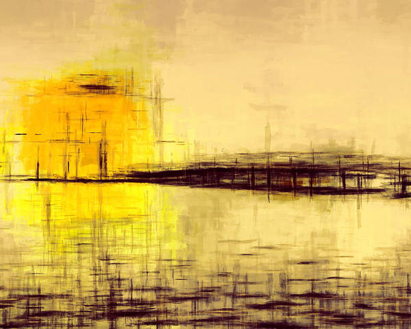Landscape Poster featuring the painting Yellow Sun 45 by Lonnie Christopher