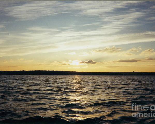 Yellow Sunrise In Manhassett Bay Poster featuring the photograph Yellow Sunrise In Manhassett Bay by John Telfer